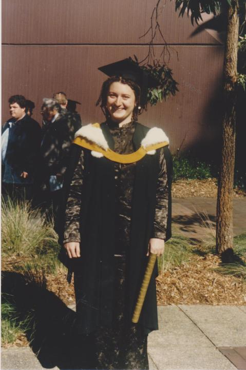 Graduating in Women's Studies, 1998. Sol and I had just begun living together.